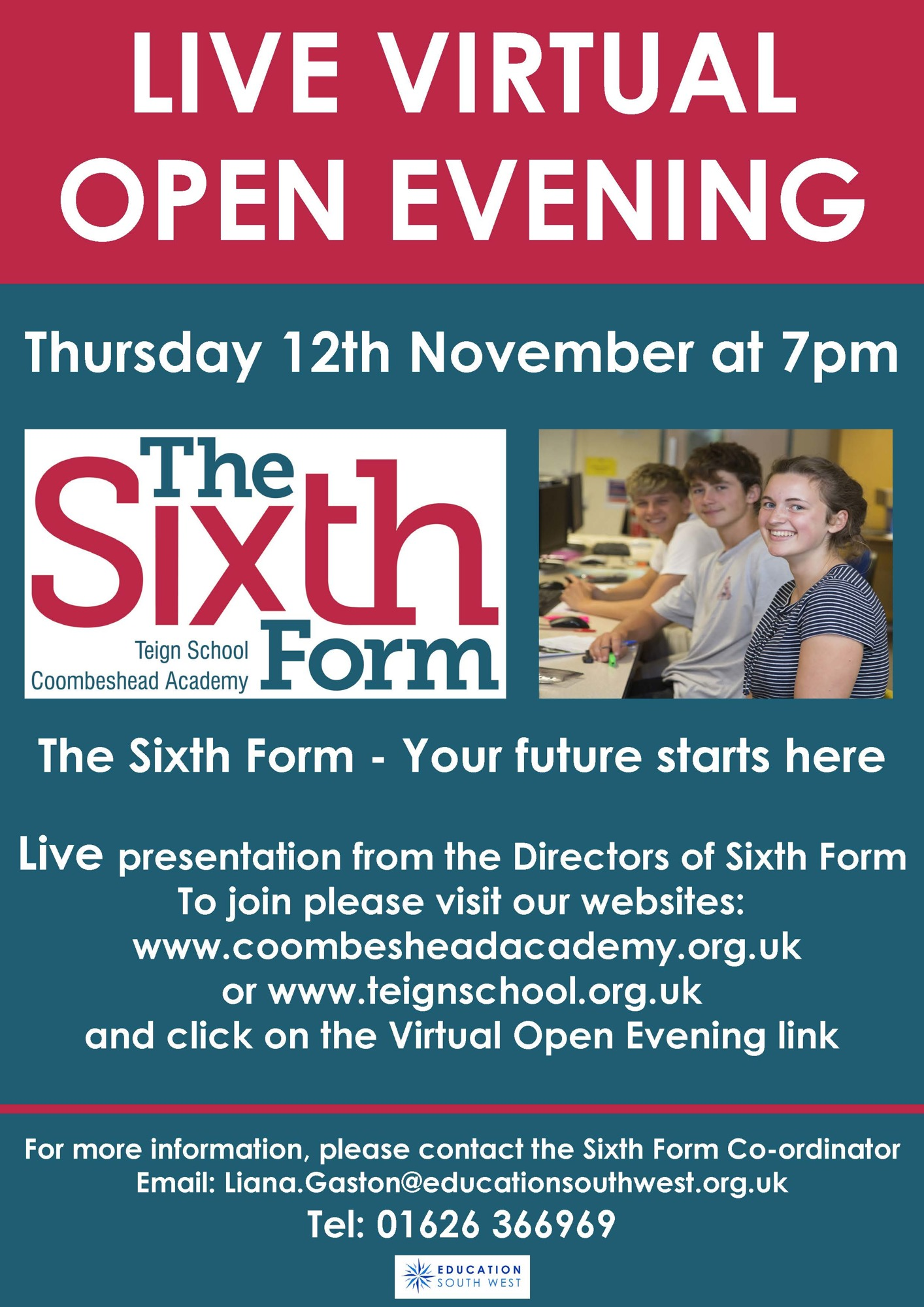 The Sixth Form Virtual Open Day Poster Nov 20