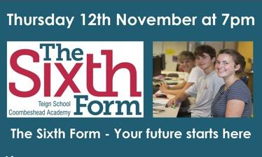 Sixth Form Virtual Open Evening - Thursday 12th November at 7pm