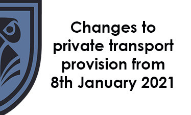 Changes to private transport provision from 8th January 2021