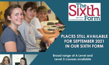 Places still available for September 2021 in our Sixth Form